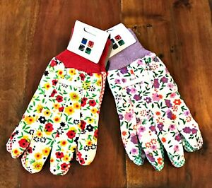 Gardening-Gloves-Camco-Two-Pair-Large-Size-9-Purple-Red-Floral-with-Grip-Dots