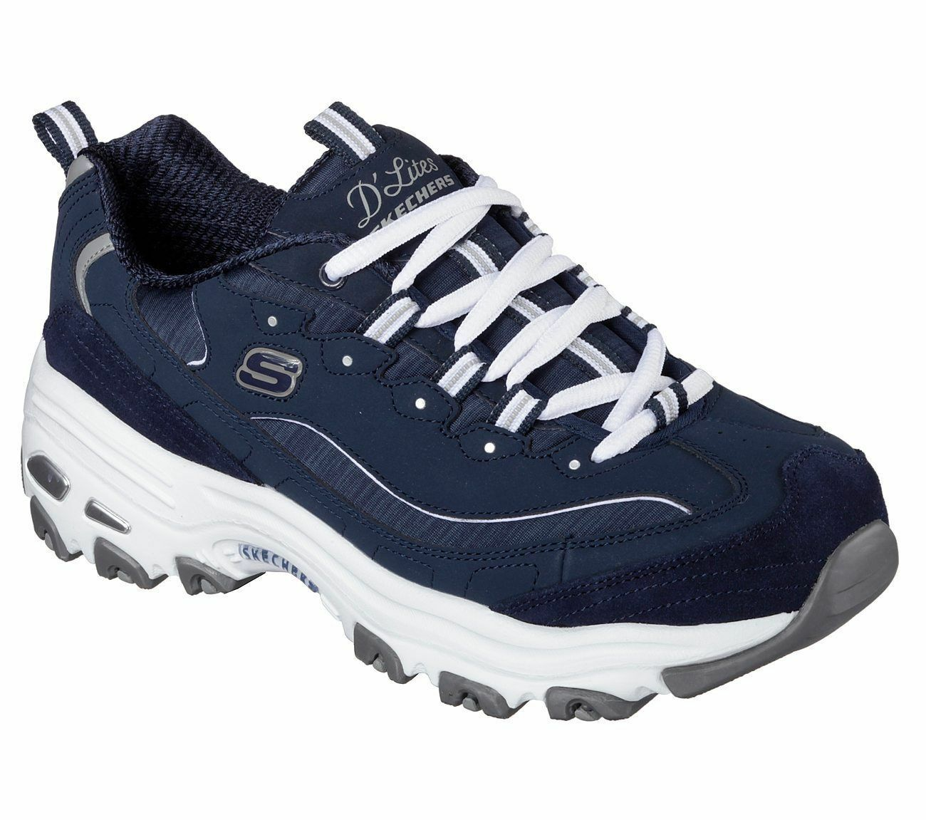 Skechers shoes Navy White Dlites 11936 NVW Women Casual Memory Foam Sneaker walk