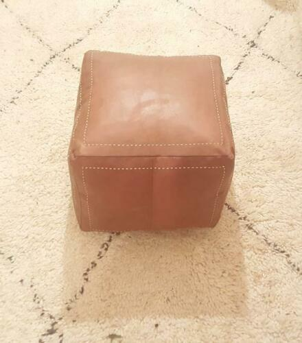 Authentic MOROCCAN SQUARE POUF Leather Pouf 16 x 16 inches and 12 inches high