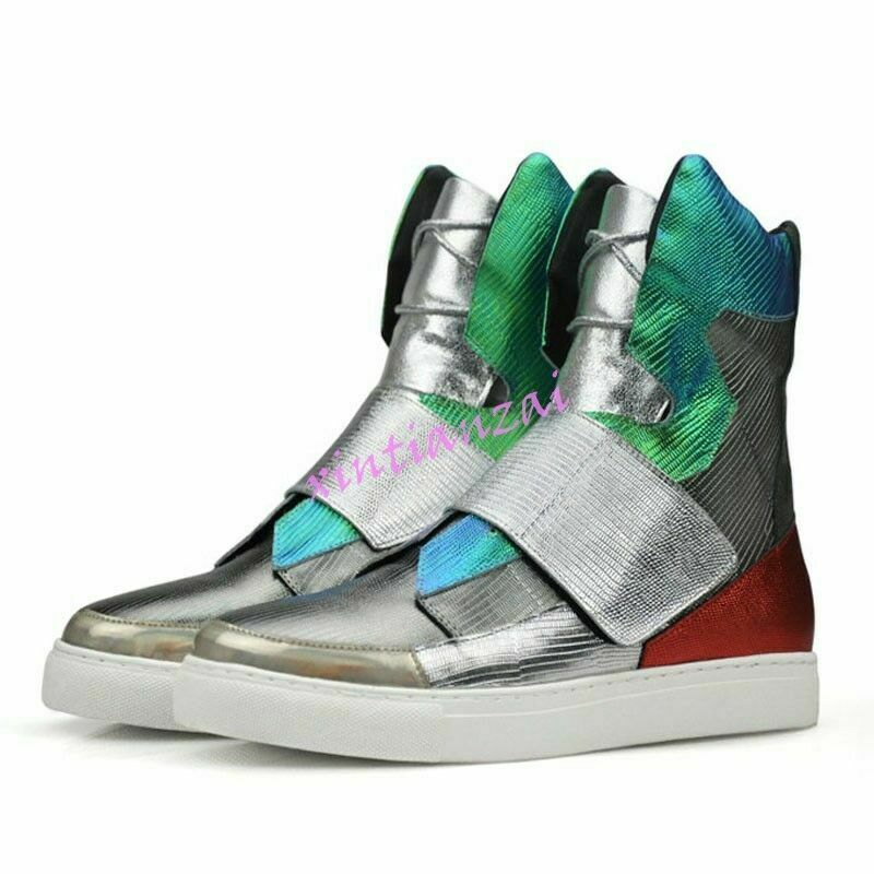 Mens Leather Multi color High Top Hip Hop shoes Street Sneakers Punk White US 11