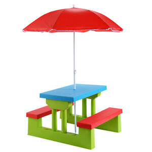 4 seat kids picnic table wumbrella garden yard folding children image is loading 4 seat kids picnic table w umbrella garden watchthetrailerfo
