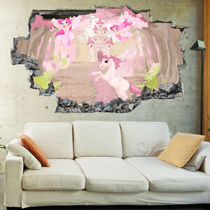 Kids Unicorn Pink Fiary Fantasy Childrens 3D Wall Mural Bedroom