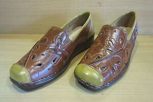 CUSHION-WALK-COMFORT-CHESTNUT-BROWN-CUT-OUT-PATTERN-SLIP-ON-WEDGE-SHOES-UK-6
