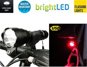 front USB rechargeable /& rear ruby LED bike lights set for road mountain bicycle