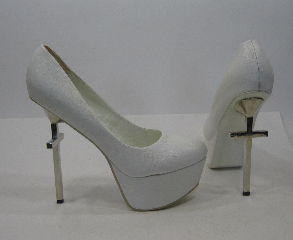 Privileged Privileged Privileged Weiß 6  Cross Heel 2  Platform Round Toe Sexy schuhe Größe 8.5 74838a
