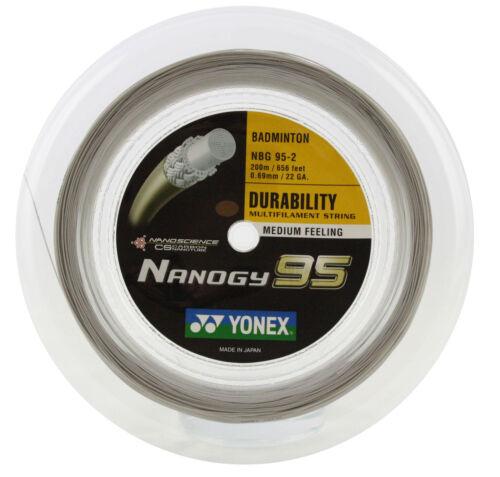 Genuine Yonex NBG95 Nanogy 95 Badminton String - 200m Reel - Silver Gray