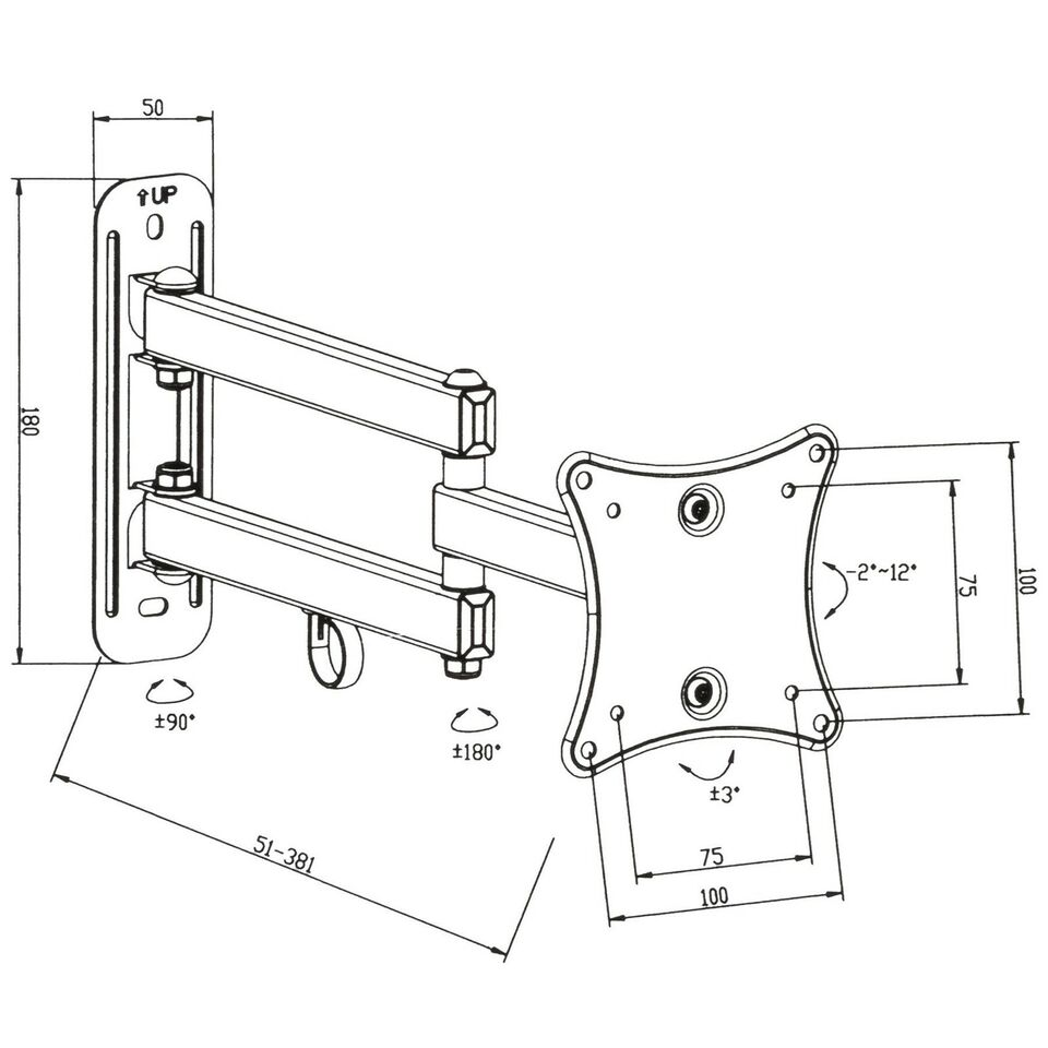 2x TV-ophæng for 10-24 tommer (25-61cm)..., TecTake