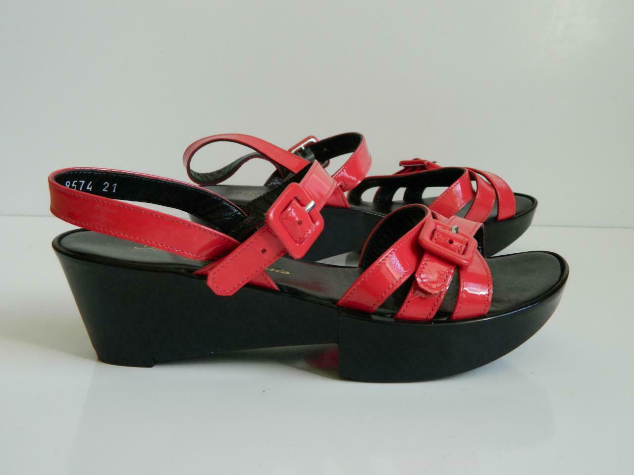 Robert Clergerie Sandals Patent Leather Moren Strappy Wedge Platform 5