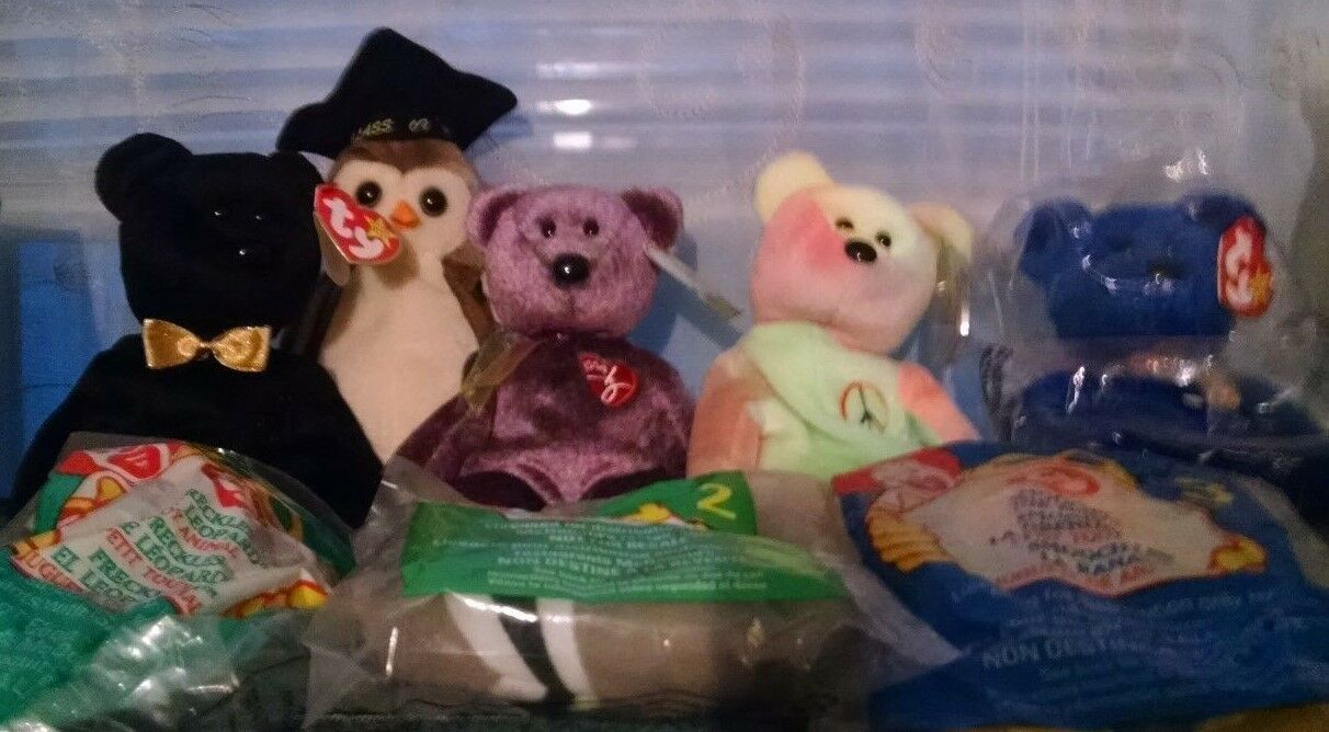 Ty Beanie Babies Set of 8 The End, 3 McDonald, Peace, 2000 Bear more