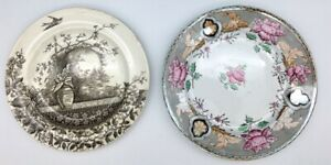 Brown-Transferware-Hand-painted-Plates-K-amp-G-Luneville-France-Hill-Pottery-Rustic