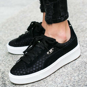 fed56c2580e9 PUMA BASKET PLATFORM DE WOMEN S TRAINERS BLACK 364102 01 UK3.5 4 4.5 ...