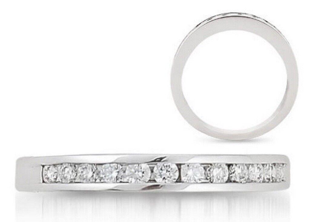 0.30carat Round Brilliant Cut Diamonds Half Eternity Ring in 9K White gold