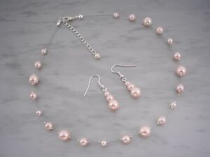 Handmade-in-any-Colour-Pearl-Choker-Style-Necklace-amp-Earrings-Jewellery-Set-45B