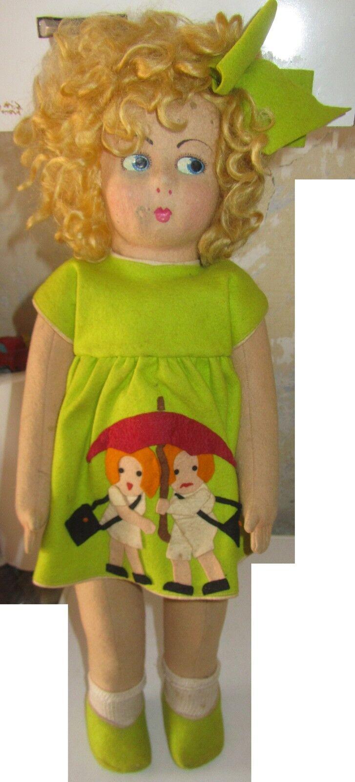Bambola in Panno pannolenci Made In  anni 40 SPESE GRATIS