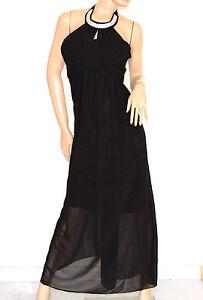4fd4b15fa090 Caricamento dell immagine in corso VESTITO-donna-NERO-elegante-ABITO-LUNGO- strass-seta-