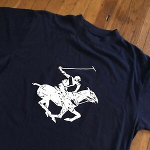Vintage-BEVERLY-HILLS-POLO-CLUB-T-Shirt-Blue-Tee-M-L
