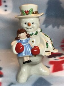 Lenox-2020-Holiday-Snowman-with-Doll-Porcelain-Figurine-New-In-Box