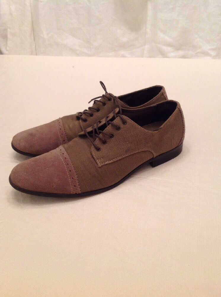 Original Penguin Men's Cap Linen Oxford Suede Dress shoes Size US 12 Beige