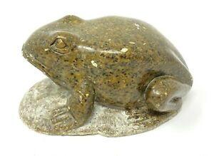 Vintage MCM artist-signed stone carving green frog on rock, signed Clayton