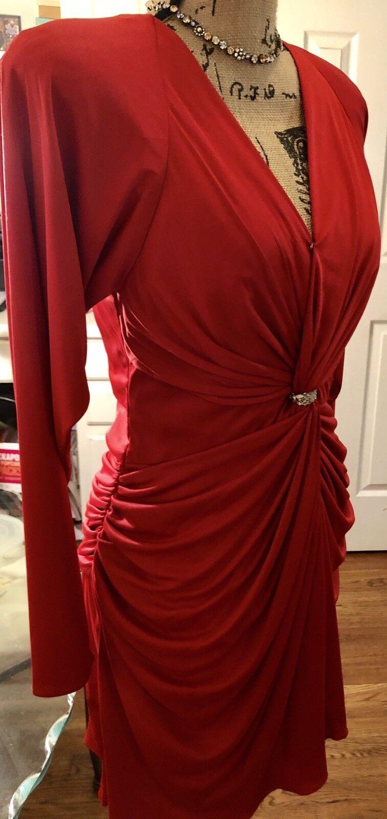 Joy Stevens rot BodyCon Ruched Knee Length Dress Größe 10
