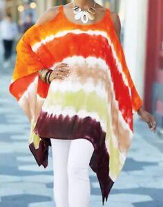 Women-039-s-Ashro-Cold-Shoulder-Tie-Dye-Fhallen-Top-Blouse-Outfit-Orange-Size-XL