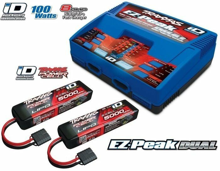 Traxxas Batteria Dual Ez-Peak Plus autoicabatteria + 2x Id Lipo 11,1V 5000mah 25C