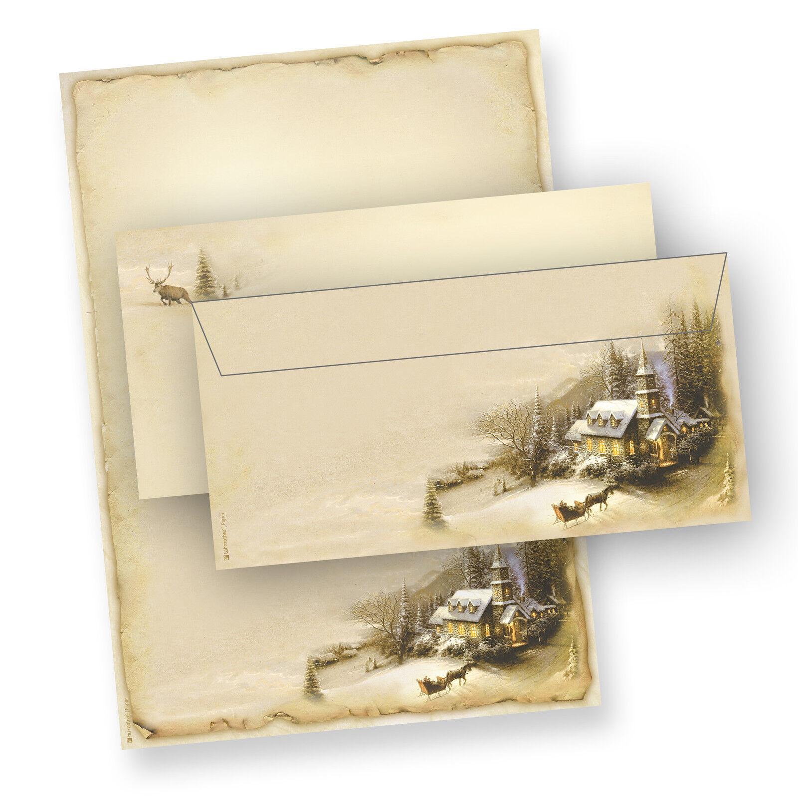 NEU Briefpapier Weihnachten Set DIN A4 Motiv WINTERIDYLLE ohne   mit Umschläge | Up-to-date Styling  | Günstige