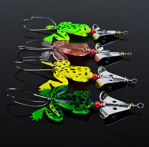 Lot-4pcs-Rubber-Frog-Soft-Fishing-Lures-Bass-Bait-Spinner-Sinking-9cm-3-9-16inch