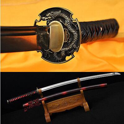 LEATHER ITO DRAGON TSUBA HIGH QUALITY JAPANESE SAMURAI SWORD KATANA 1095 STEEL