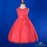 Beaded Soft Tulle Formal Dress Wedding Flower Girl Party Coral Kid Size 2 Fg257
