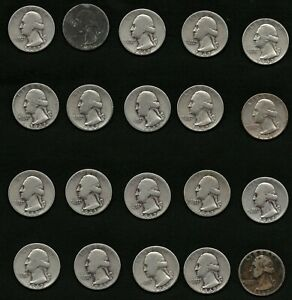 Lot-of-20-US-Washington-Silver-Quarters-Coins-Year-1942-FREE-Shipping