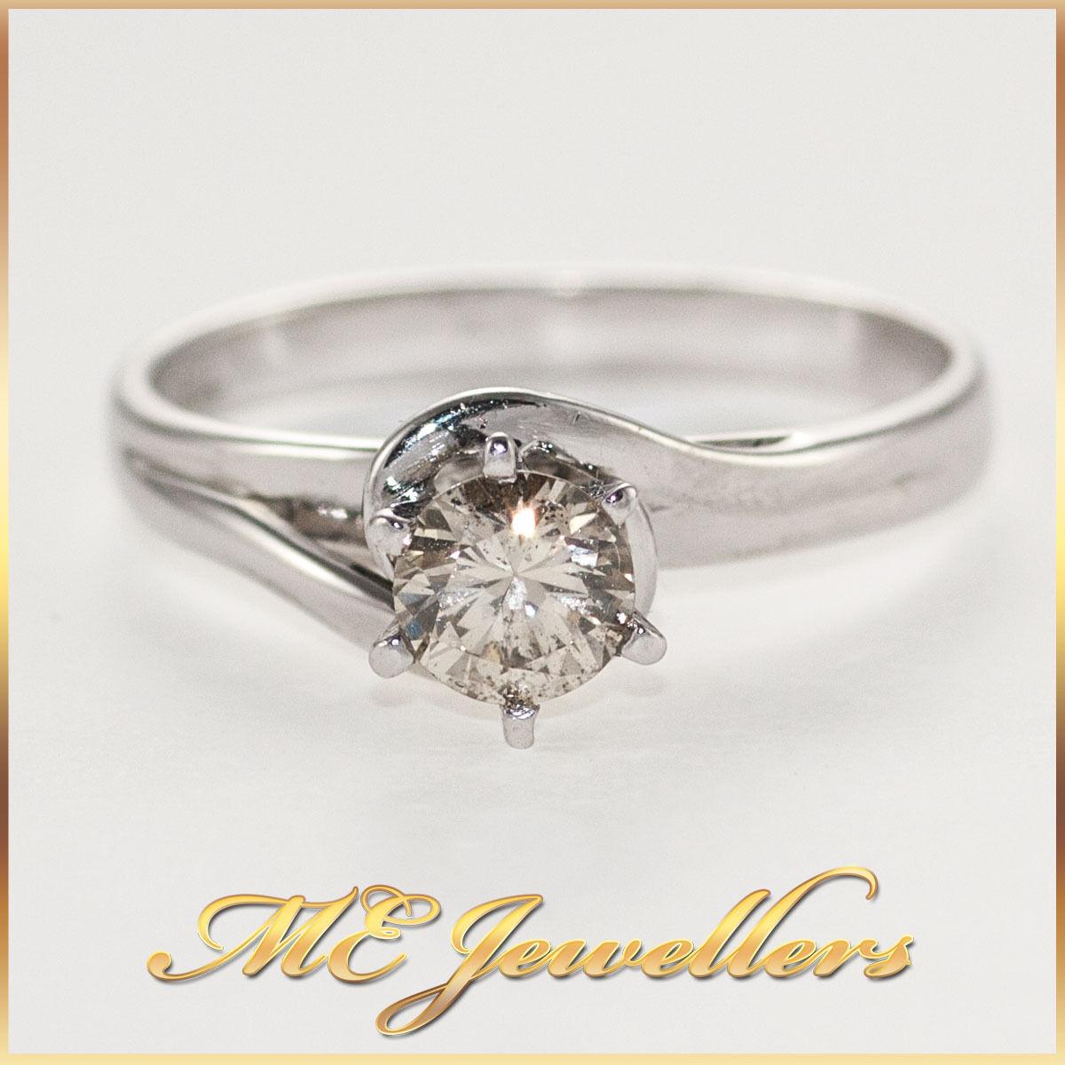 Solid 18K 18 k 750 0.45ct carat Solitaire Diamond ring Round Brilliant Cut Twirl