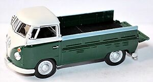 VW-Volkswagen-T1-Camion-a-benne-Pick-Up-a-plateau-1951-67-vert-amp-1-blanc-43