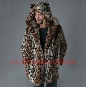 Plus Size Leopard Print Faux Fur Collar Puffer Coat