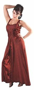 Mittelalter-Kleid-en-Rouge-sans-Manches-Lacage-Broderie-Viscose-Velours-Gr