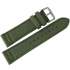 22mm Eulit Green Canvas Made in Germany Mens Watch Band Strap
