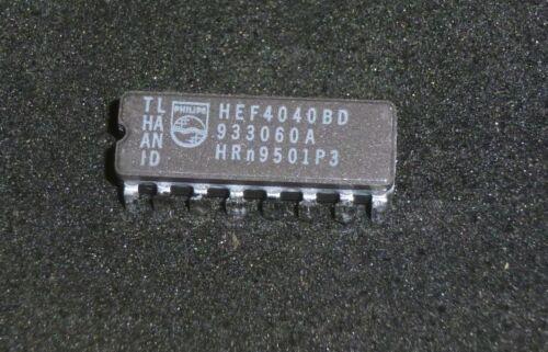 1x IC Philips HEF 4040 BD  12-stufiger asynchroner Binärzähler  CMOS  DIP16