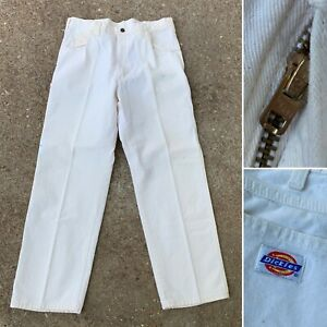 Dickies-VTG-70s-weiss-Carpenter-Talon-Zipper-USA-Made-Maler-Hosen-Herren-34-29