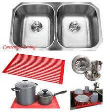 "32"" Stainless Steel Double 50/50 Bowl 18 Gauge Undermount Kitchen Sink Dish Rack"