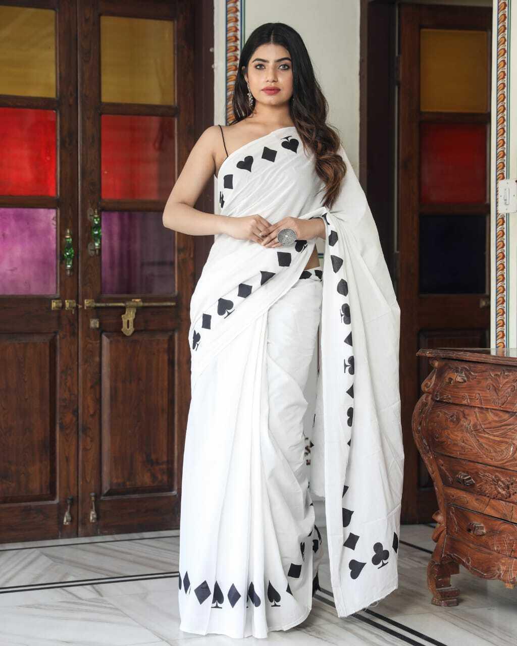 Designer Handmade Handloom Block Printed Cotton Saree For Women & Blouse Piece