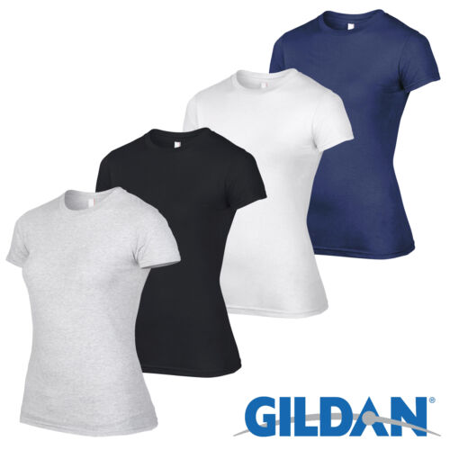 4 Pack Gildan WHITE Tshirt Plain Cotton T Shirt Ladies Workwear Wholesale Girls