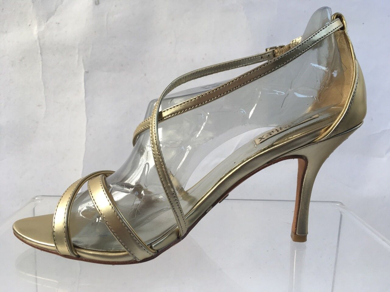 Badgley Mischka Strappy Stiletto Heels Sole Sandale Metallic Gold Leder Sole Heels 9M 40f12b