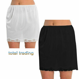 Ladies-Women-waist-slips-anti-cling-new-shorter-23-034-length-with-lace