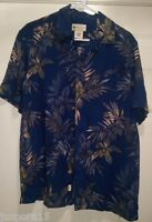 Havana Jack's Cafe Men's Blue/green/yellow Leaves Button Down Shirt Size S
