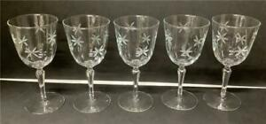 5 Vintage Libbey Candlelight Goblets Water Wine Glasses Stars Stems Rock Sharpe