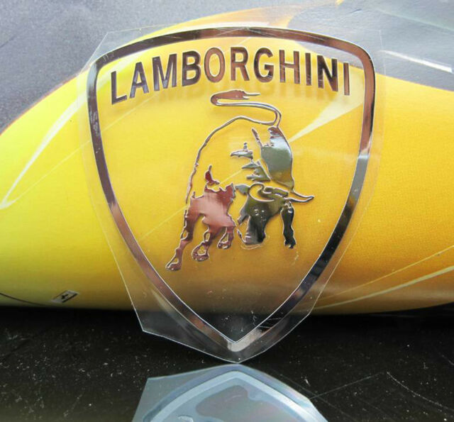 Lambo Rghini Badge Nickel Metal Car Emblem Thin Decal Sticker For
