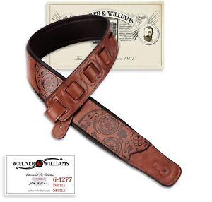 Walker-amp-Williams-GM-1277-Chestnut-Brown-Skulls-Strap-Padded-Glove-Leather-Back