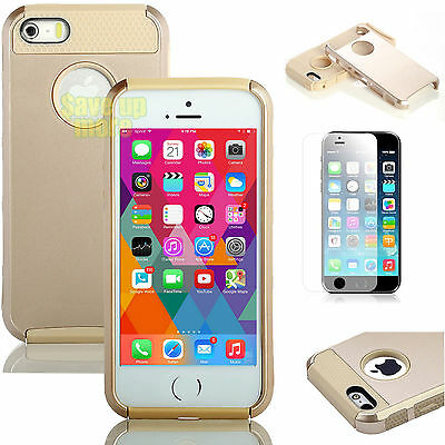 Gold PC Hybrid Shockproof Hard Heavy Duty Cover Case For iPhone 6 / 6s / 6s Plus