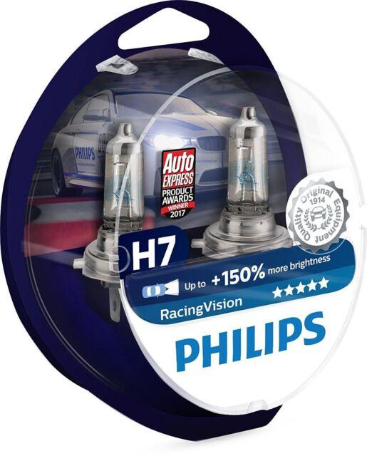 2 x H7 Philips Racing Vision 150% más luz 12972RV + S2 Bombillas de faros DuoBox