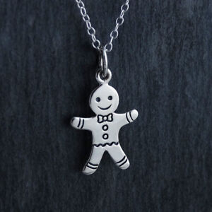 88406945b69d0 Details about Gingerbread Man Charm Necklace 925 Sterling Silver Cookie  Baking Christmas Gift